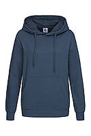 Худи, женская кофта с капюшоном темно-синяя, кенгуру Stedman - NAVСТ4110