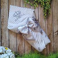 """Плюшевый конверт-одеяло на выписку """"Минки"""", конверт на выписку со съемным синтепоном"""