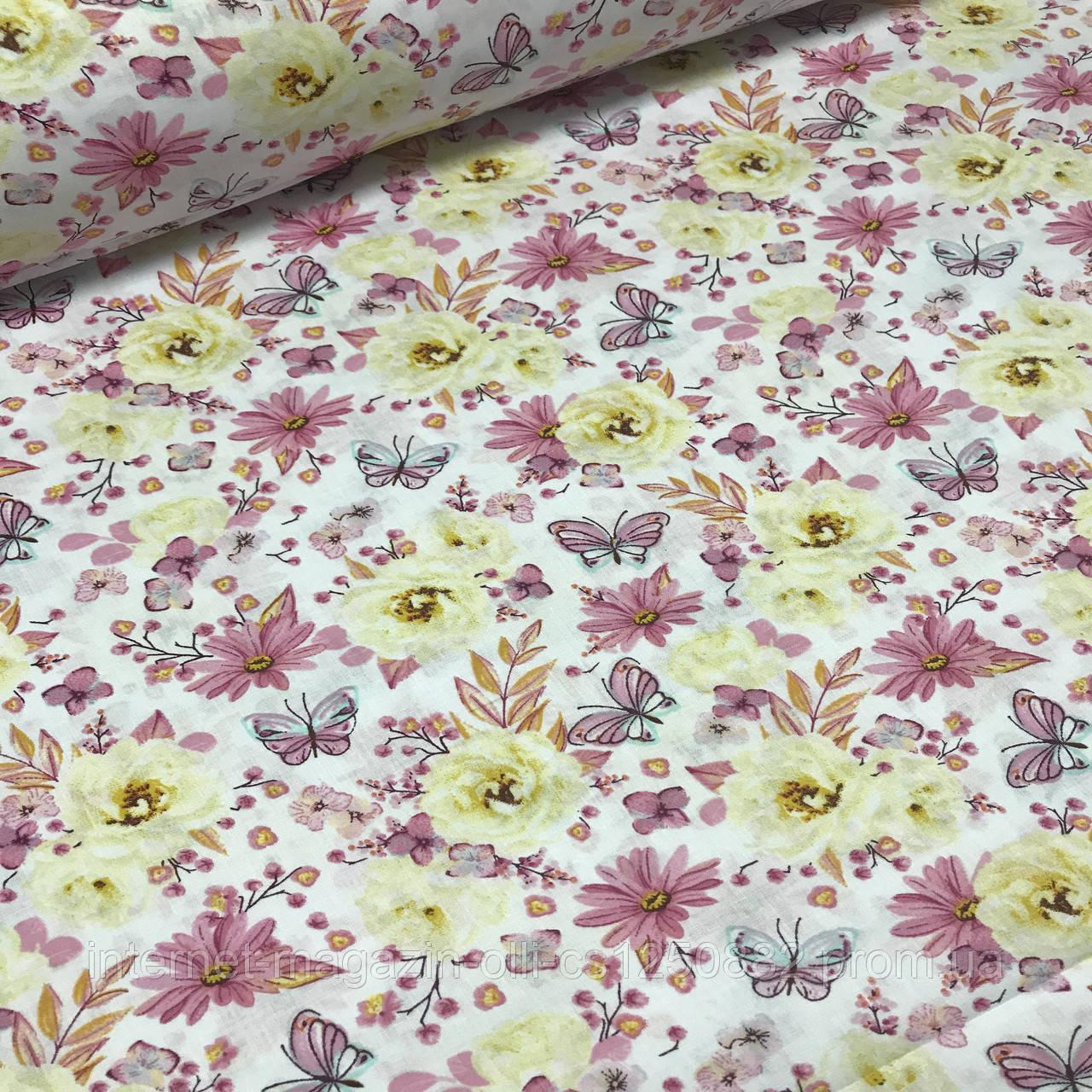 Хлопковая ткань польская цветы и бабочки сиреневые и желтые №119