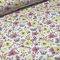 Хлопковая ткань польская цветы и бабочки сиреневые и желтые №119, фото 1