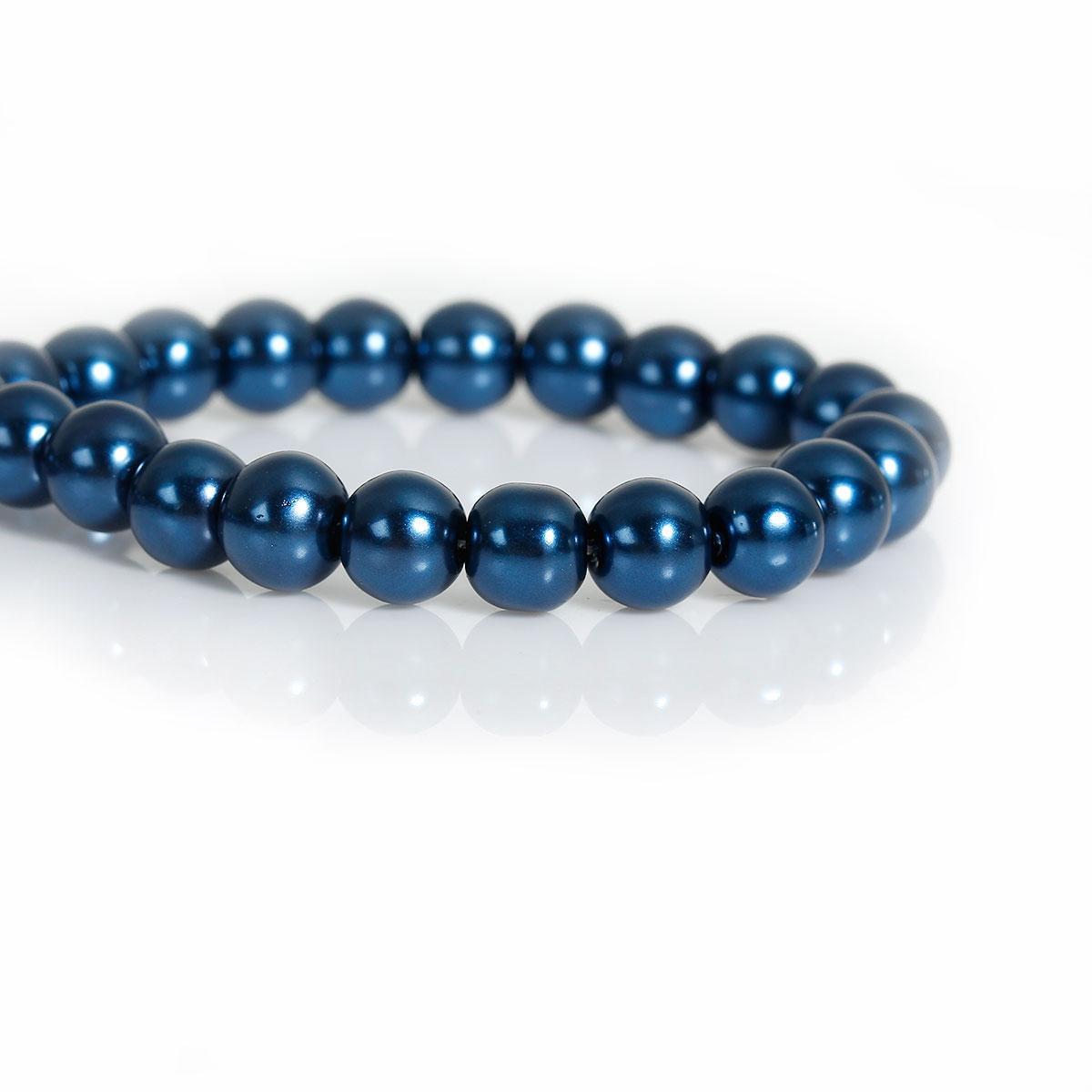 Скляна намистина Кругла, Колір: Чорно-синій, Імітація перлин, 8 мм