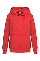Худи, женская кофта с капюшоном красная, кенгуру Stedman - SREСТ4110