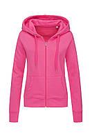 Женская кофта с капюшоном на молнии розовая, кенгуру Stedman - SPKCT5710