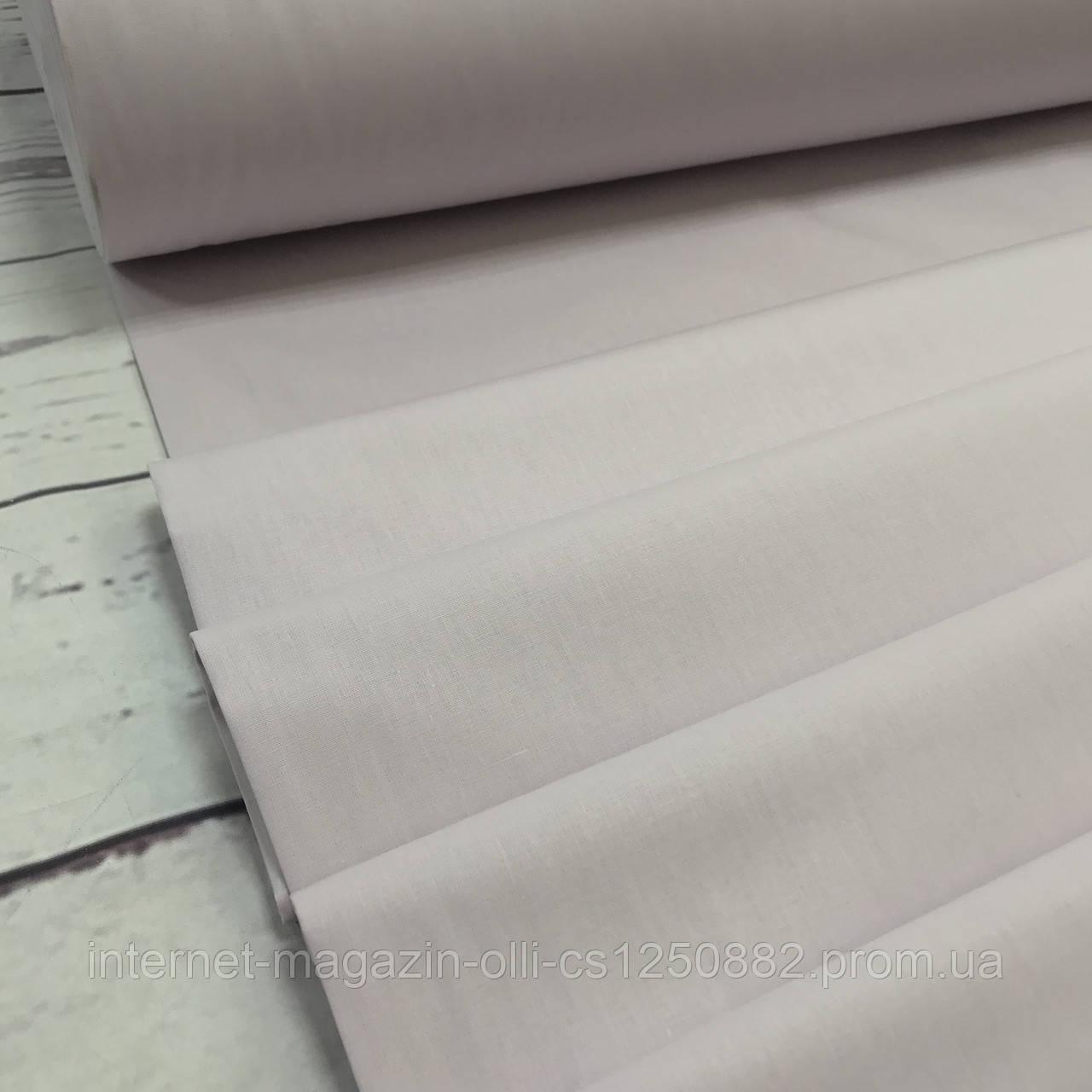 Ткань поплин De Luxe, однотонный нежно-сиреневый (Турция шир. 2,4 м) №32-32b