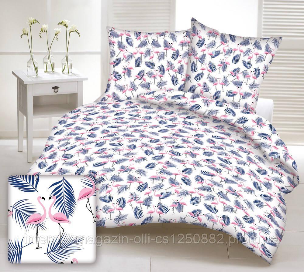 Хлопковая ткань польская фламинго розовые с  синими листьями папоротника на белом