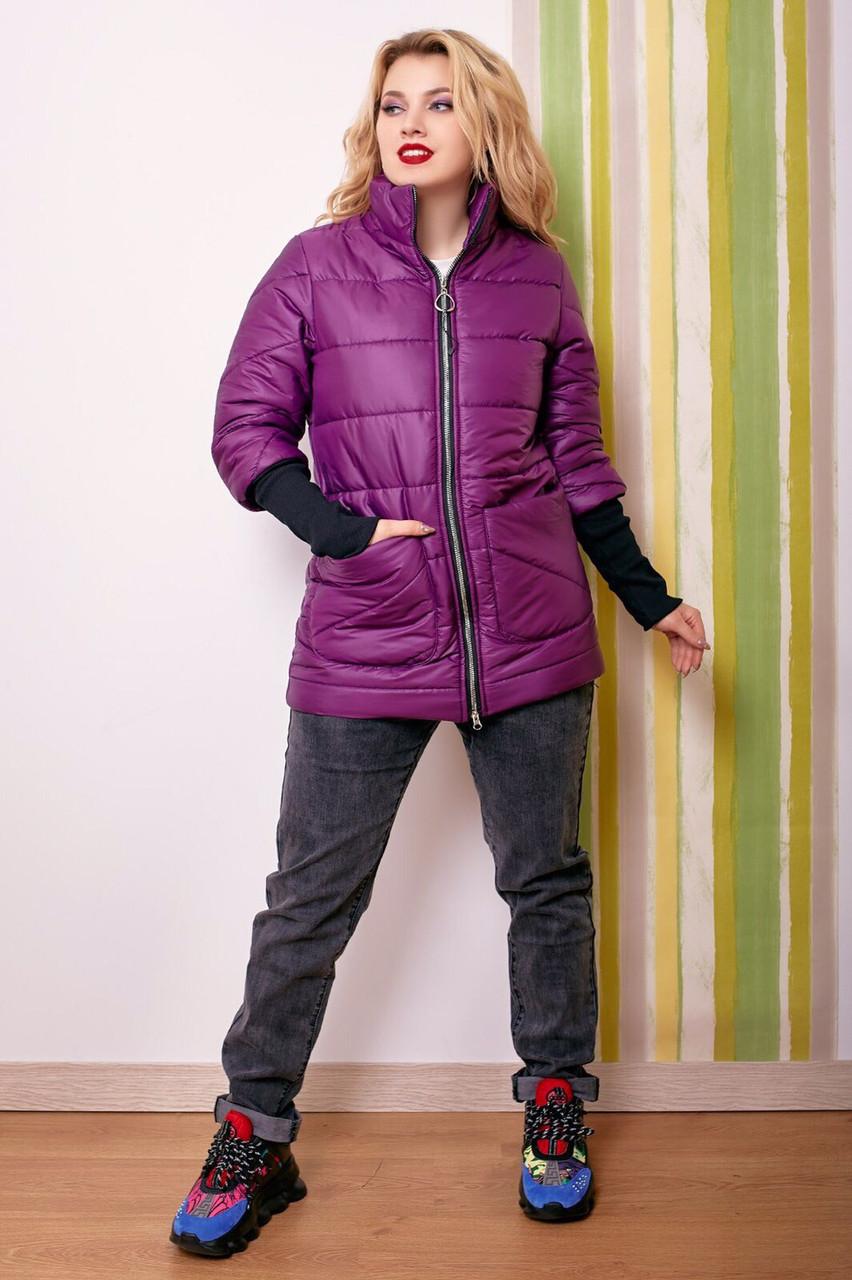 Куртка длинная рукава довяз воротник стойка утеплитель синтепон, баклажан коралл темносиний