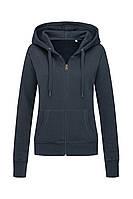 Женская кофта с капюшоном на молнии темно синяя, кенгуру Stedman - BLMCT5710