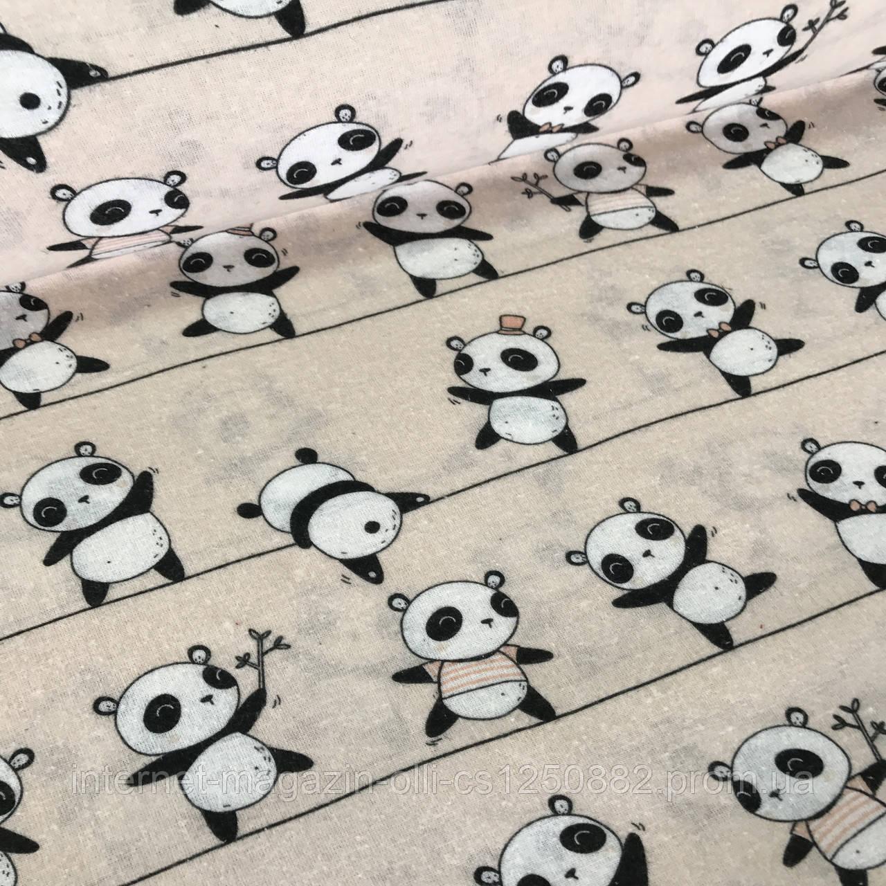Бязь детская панды на полоске на пудровом №18