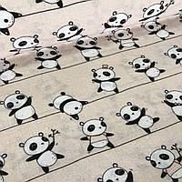 Бязь детская панды на полоске на пудровом №18, фото 1