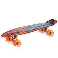 Скейтборд пластиковый Penny SK-881-2 с рисунком 56х15см, оранжевый, фото 3