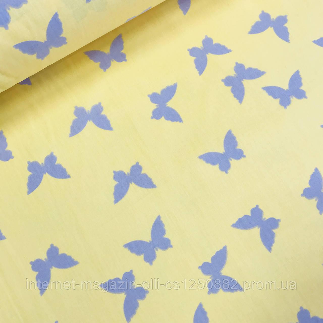 Хлопковая ткань (ТУРЦИЯ шир. 2,4 м) бабочки серые на желтом