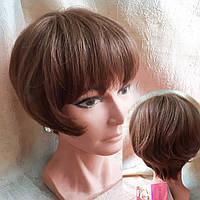 Парик боб-каре из натуральных волос светло-каштановый 1727HH - V6