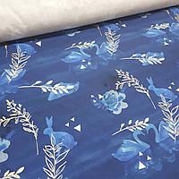 Хлопковая ткань премиум, лебеди с золотом (глиттер) на синем