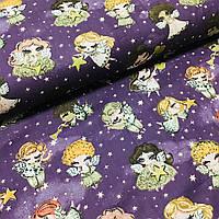 Ткань польская хлопковая, девочки и мальчики ангелочки с золотистыми (глиттер) сердечками на фиолетовом, фото 1