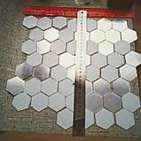 Комплект акрилових дзеркал «Соти» 50 шт. 46×40×23×1 мм срібло, фото 2