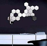 Комплект акрилових дзеркал «Соти» 50 шт. 46×40×23×1 мм срібло, фото 8