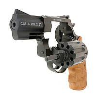 "Револьвер под патрон Флобера Stalker 2.5"" black пластик под дерево"