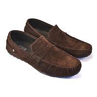 Мокасини чоловічі коричневі замшеві стильні весняна взуття ETHEREAL Classic Brown Vel by Rosso Avangard