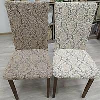 Чехлы на стулья жаккардовые MILANO LUX (натяжные) набор 6-шт кремовые № 1