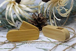 Дерев'яна розкладна флешка «Швейцарський ніж» з індивідуальним гравіюванням Карб. Бамбук на 32Gb (3.0)