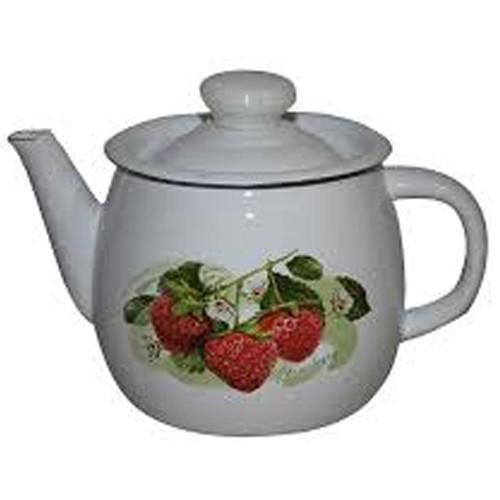 """Чайник емаль 1л """"Лісова ягода"""" НМТЗ 0273 Білий /2707/2"""
