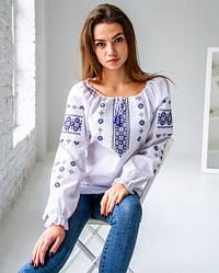 Підросткова блузка Діва, синій орнамент