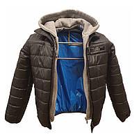 Стильная демисезонная подростковая куртка на мальчика с трикотажным капюшоном, Серый, р-ры 140-170, мод.Леон