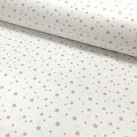 Ткань поплин пудровый звездопад на белом мелкий (ТУРЦИЯ шир. 2,4 м), фото 1