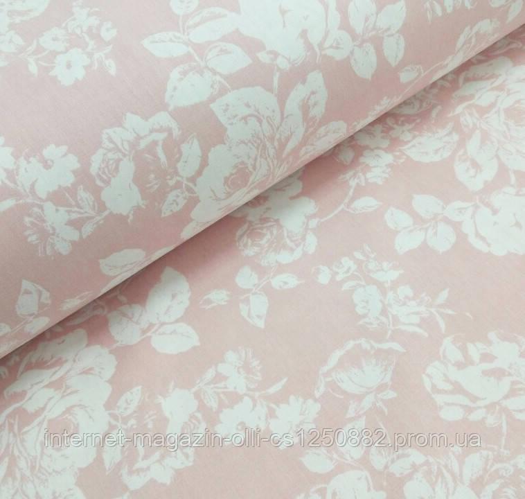 Ткань поплин (ТУРЦИЯ шир. 2,4 м) крупные белые розы на розовом