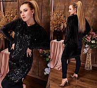 Женское бархатное платье-туника №0029 (р.48-58) черное, фото 1