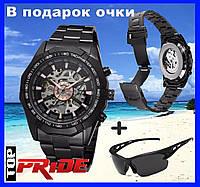 Механические часы Winner Skeleton / Мужские часы (черные)