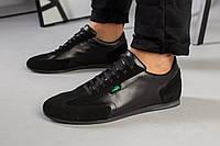 Кроссовки Lacoste мужские черные из натуральной кожи и замши