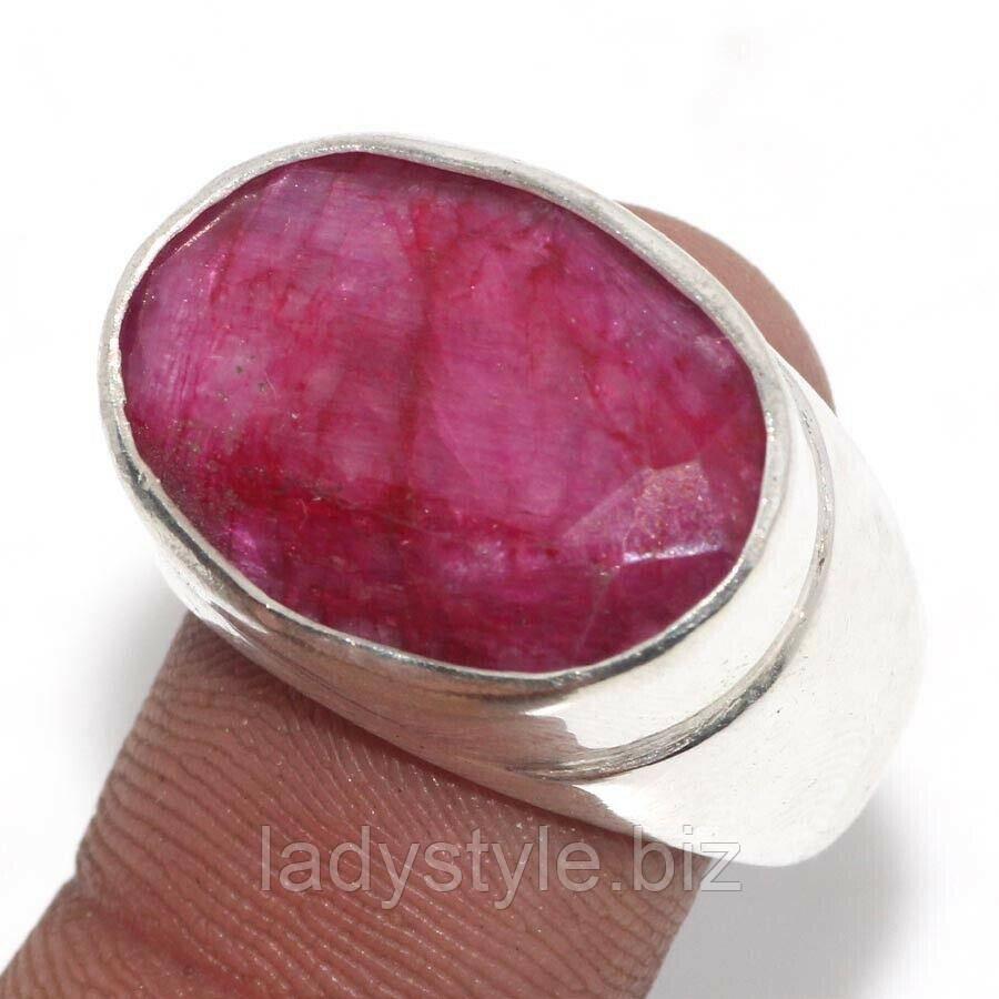 Серебряный Перстень с рубином, размер 18.2