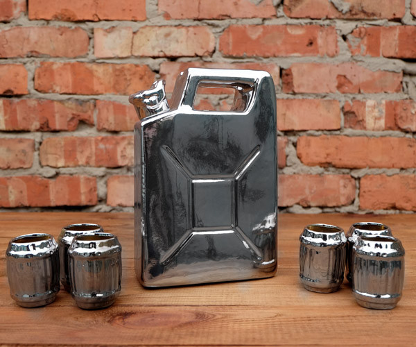 Серебряная канистра №2 - сувенирный набор для спиртного