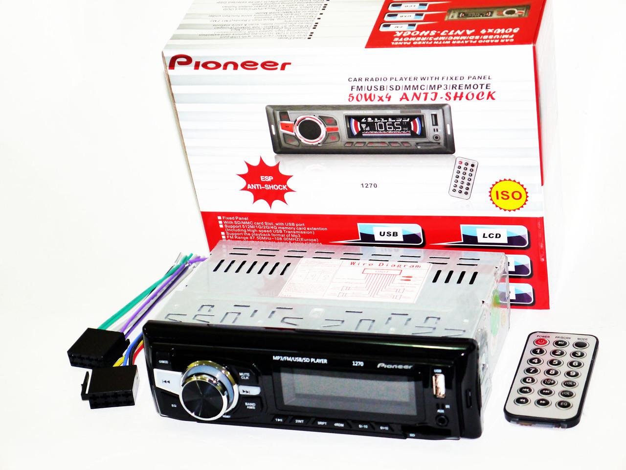 Автомагнітола Pioneer 1270 ISO Usb+Sd+Fm+Aux+ пульт (4x50W)