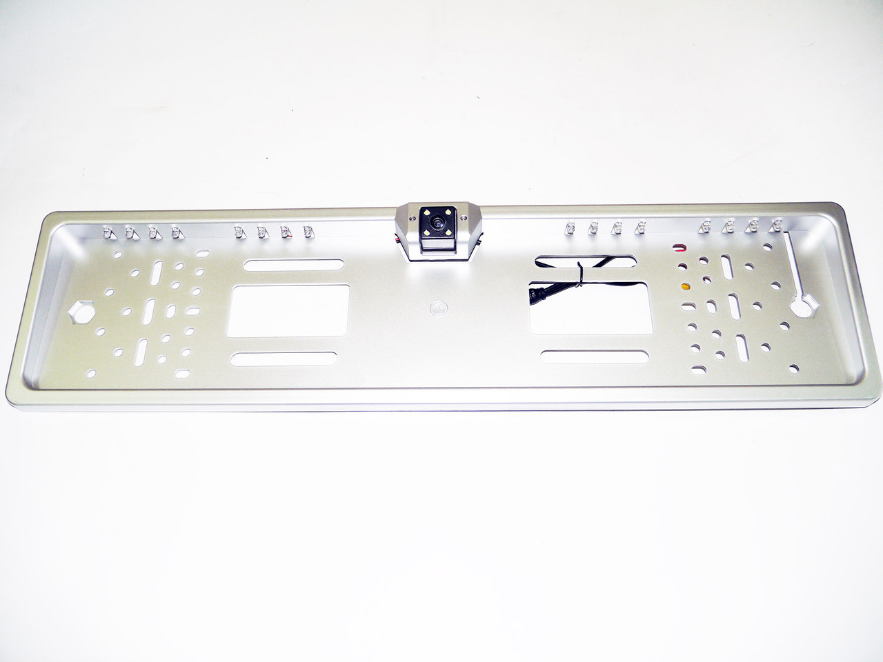 Камера заднього виду у рамці автомобільного номери з LED підсвічуванням Сіра
