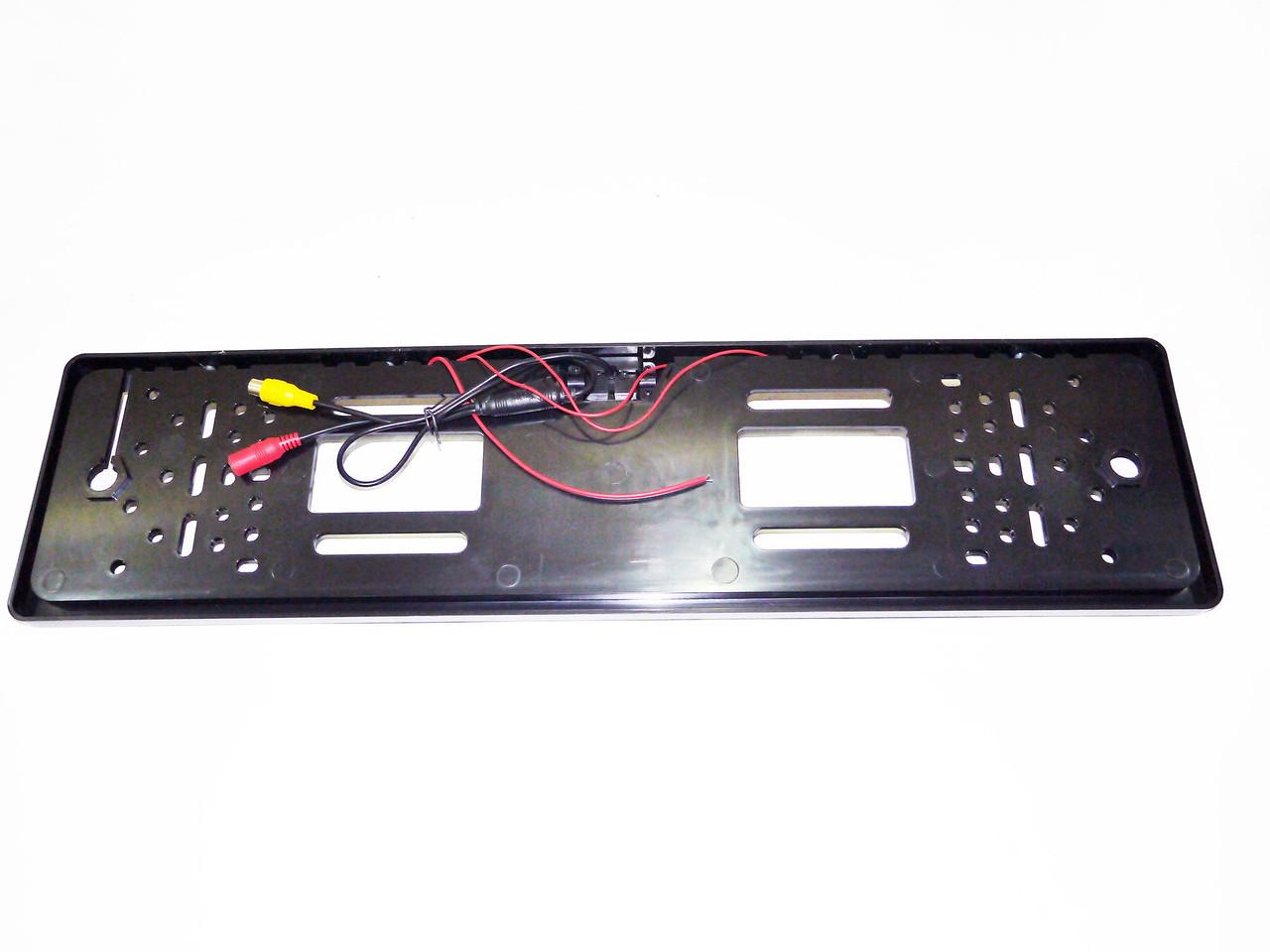 Камера заднього виду у рамці автомобільного номери з LED підсвічуванням Чорна