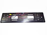 Камера заднього виду у рамці автомобільного номери з LED підсвічуванням Чорна, фото 1
