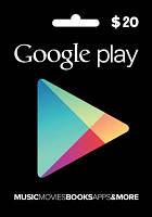 Google Play Gift Card 20$ (20 долларов) для Гугл Плей Маркета сертификат карта пополнения счета