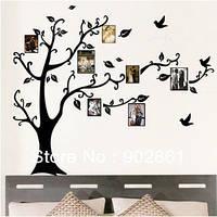 Наклейка интерьерная Дерево с фоторамками на подарок, 50x70 см, на стене 120х120 см.