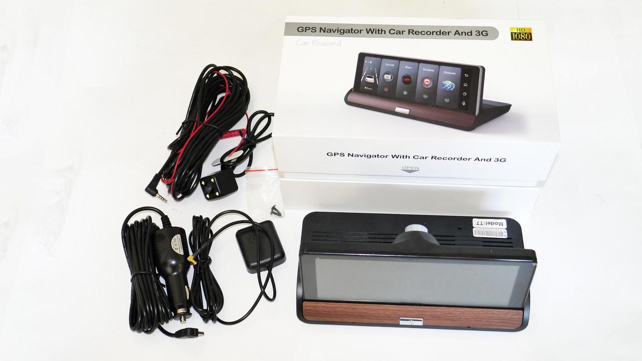 "DVR T7 Видеорегистратор на торпеду - 2 камеры / GPS  / 8""IPS Экран / 4Ядра / 8Gb / 1Gb Ram / Android"