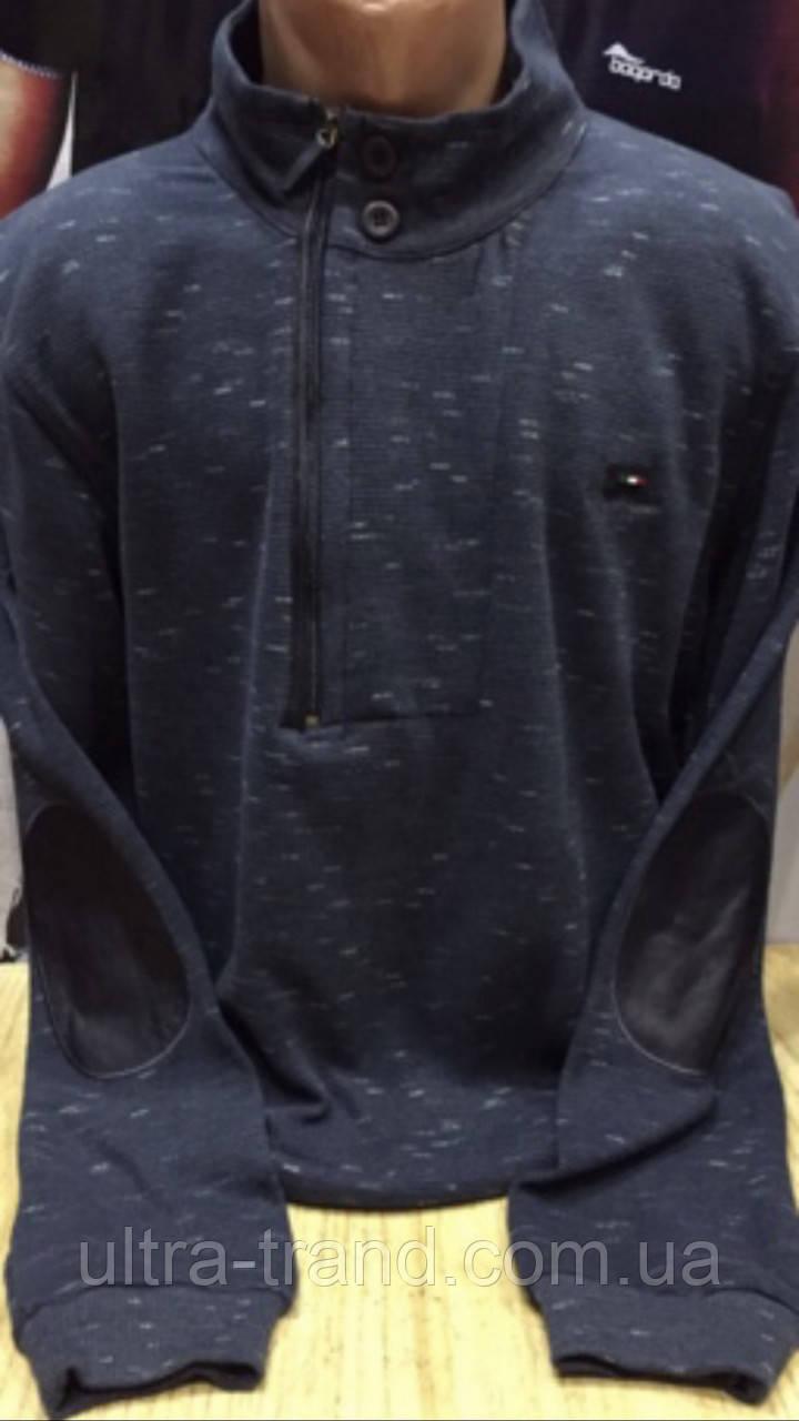 Стильный меланжевый мужской турецкий свитер с воротником- стойкой на молнии