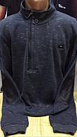 Стильный меланжевый мужской турецкий свитер с воротником- стойкой на молнии, фото 1