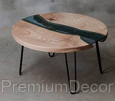 Стол из массива дерева со стеклом эпоксидной смолой река лофт мебель дуб ясень орех тополь, фото 3