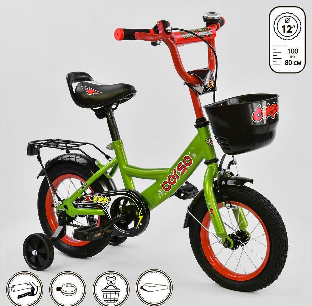 """Детский велосипед """"Corso"""" 12 дюймов G-12517, зелёный"""