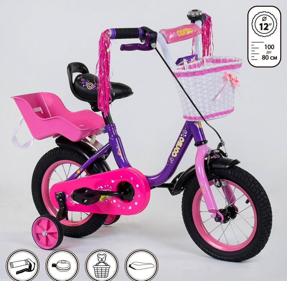 """Детский велосипед """"Corso"""" 12 дюймов 1275 с сиденьем для куклы"""