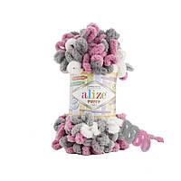 Alize Puffy Color № 6070 бело-серо-малиновый