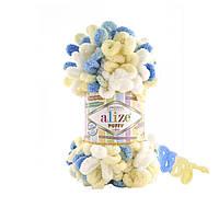 Alize Puffy Color № 6069 бело-желто-голубой