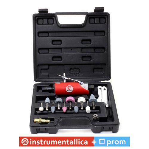Шлифмашина пневматическая в чемодане 1/4 мини + набор шлифовальных камней 10ед PT-1003 Intertool