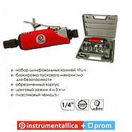 Шлифмашина пневматическая в чемодане 1/4 мини + набор шлифовальных камней 10ед PT-1003 Intertool, фото 4
